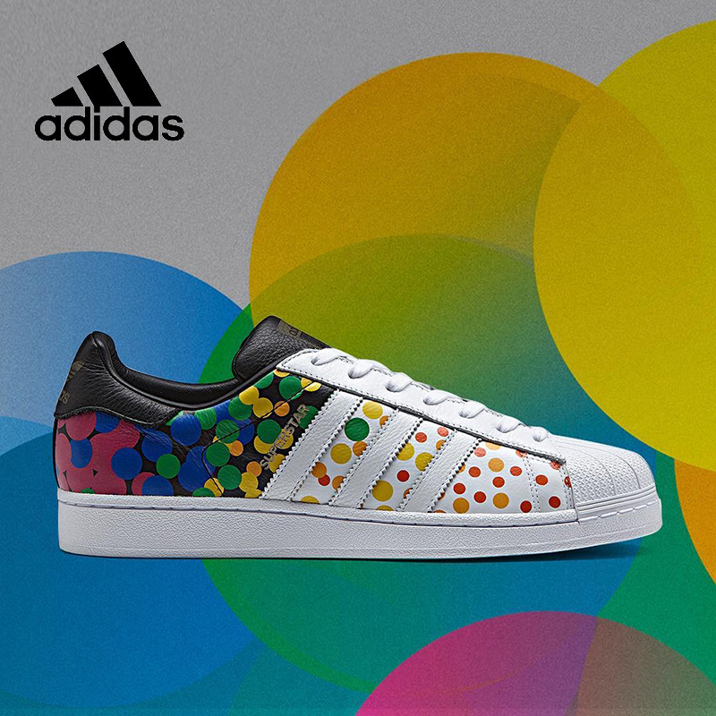 Colorful Dot Adidas Sneakers Originals Sports Unisex Women Men Skateboarding Shoes PU Leather Low-tops Adidas Women Sneakers