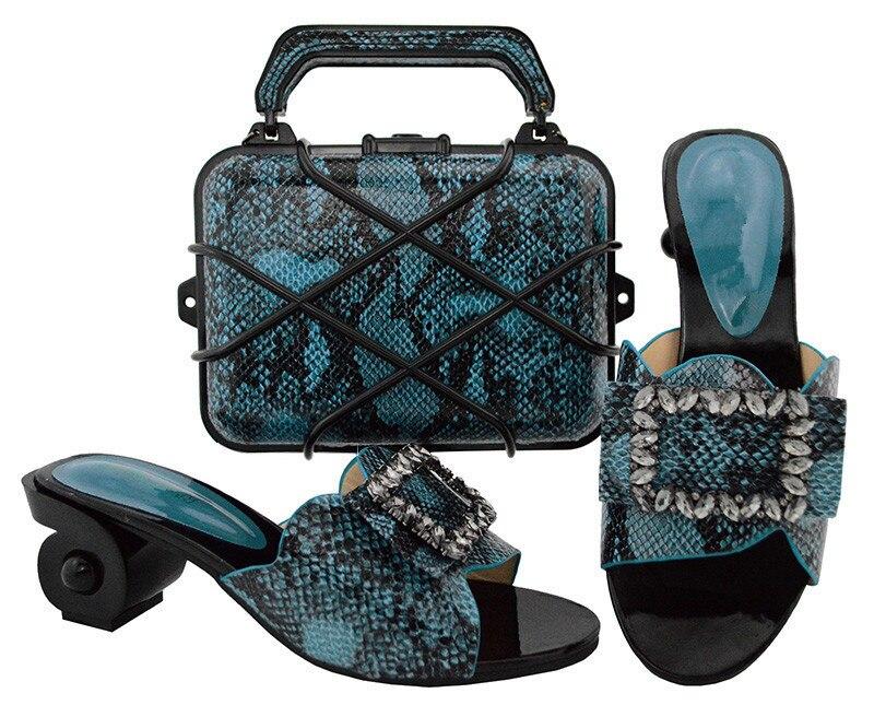Красивый синий дизайн странный каблук тапочки обувь с сумочкой комплект с камнями GL02, высота каблука 6.5 см