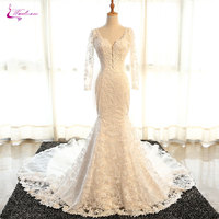 Waulizane Glamorous Scoop Neck Cap Sleeve Mermaid Wedding Dress Plus Size Sparkly Crystal Beaded Appliques 2017