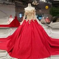 Modabelle 2018 красный и золотой бальное платье Вечерние платья с рукавами Кружево Аппликация Элегантный Арабский атласная Длинные вечерние плат