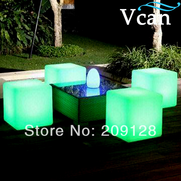 LED Light Garden Chair seat cube colors change remote control 40*40*40cm  VC-A400 jxy led cube chair 40cm 40cm 40cm colorful rgb light led cube chair jxy lc400 to outdoor or indoor as garden seat