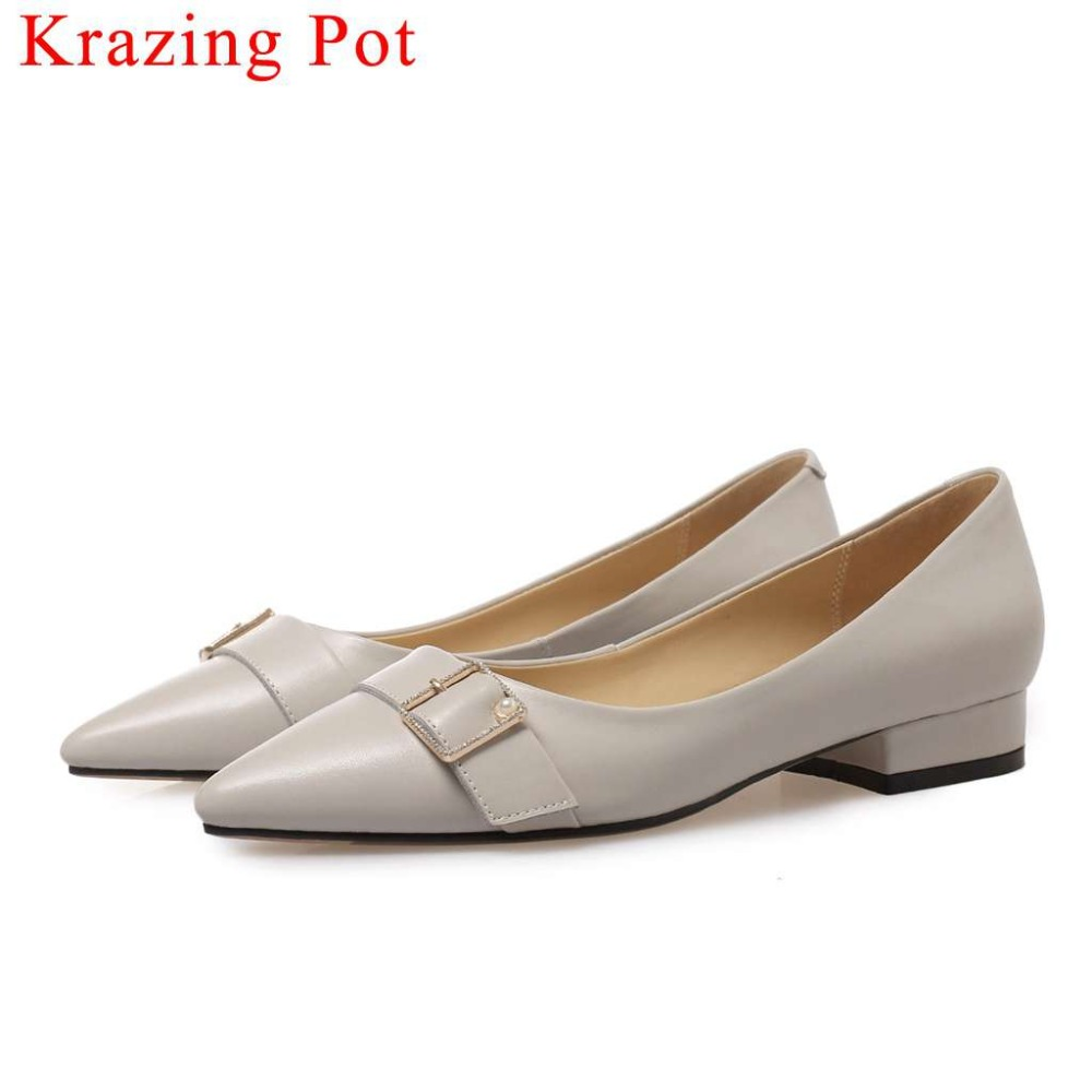 Krazing Pot 2019 superstar pregnant woman dress suit pumps cow leather low heels pointed toe oxford