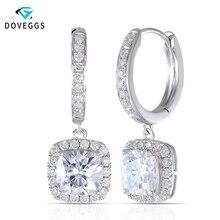 DovEggs 14 585 ホワイトゴールドセンター 1.1ct 6*6 ミリメートル F カラークッションカットモアッサナイトダイヤモンドドロップイヤリング女性のためのゴールドイヤリング
