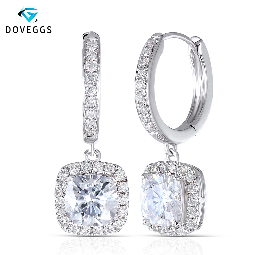DovEggs 14K 585 الذهب الأبيض مركز 1.1ct 6*6 مللي متر F اللون وسادة كربيد سيليكون مقطع الماس انخفاض الأقراط ل النساء الذهب هالو القرط-في الأقراط من الإكسسوارات والجواهر على  مجموعة 1