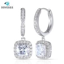 DovEggs 14K 585 White Gold Center 1.1ct 6*6mm F Color Cushion Cut Moissanite Diamond Drop Earrings For Women Gold Halo Earring