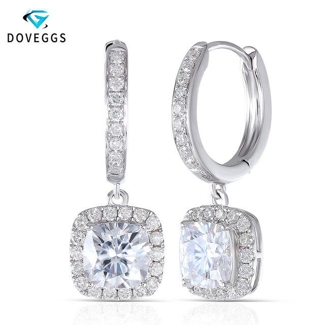 DovEggs 14K 585 or blanc Center 1.1ct 6*6mm F couleur coussin coupe Moissanite diamant boucles doreilles goutte pour les femmes or Halo boucle doreille