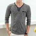 Мужская мода V Шеи Длинным Рукавом Футболка 2016 Новый Slim Fit Уличная Camisetas Марка Ти Топы для Мужчин