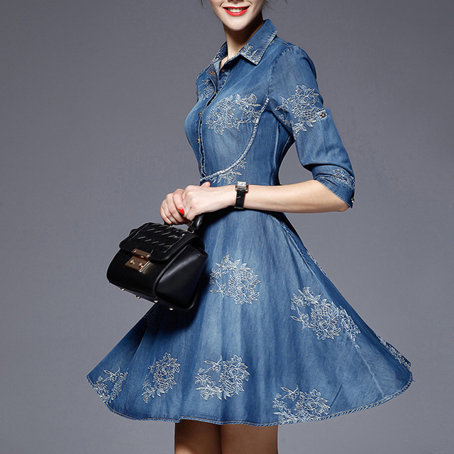 5915221d262 2018 Spring Plus Size Jeans Dress Vintage Sexy Slim Half Sleeve Embroidery  Dress Women Denim Washed Swing Midi Dresses MT2581