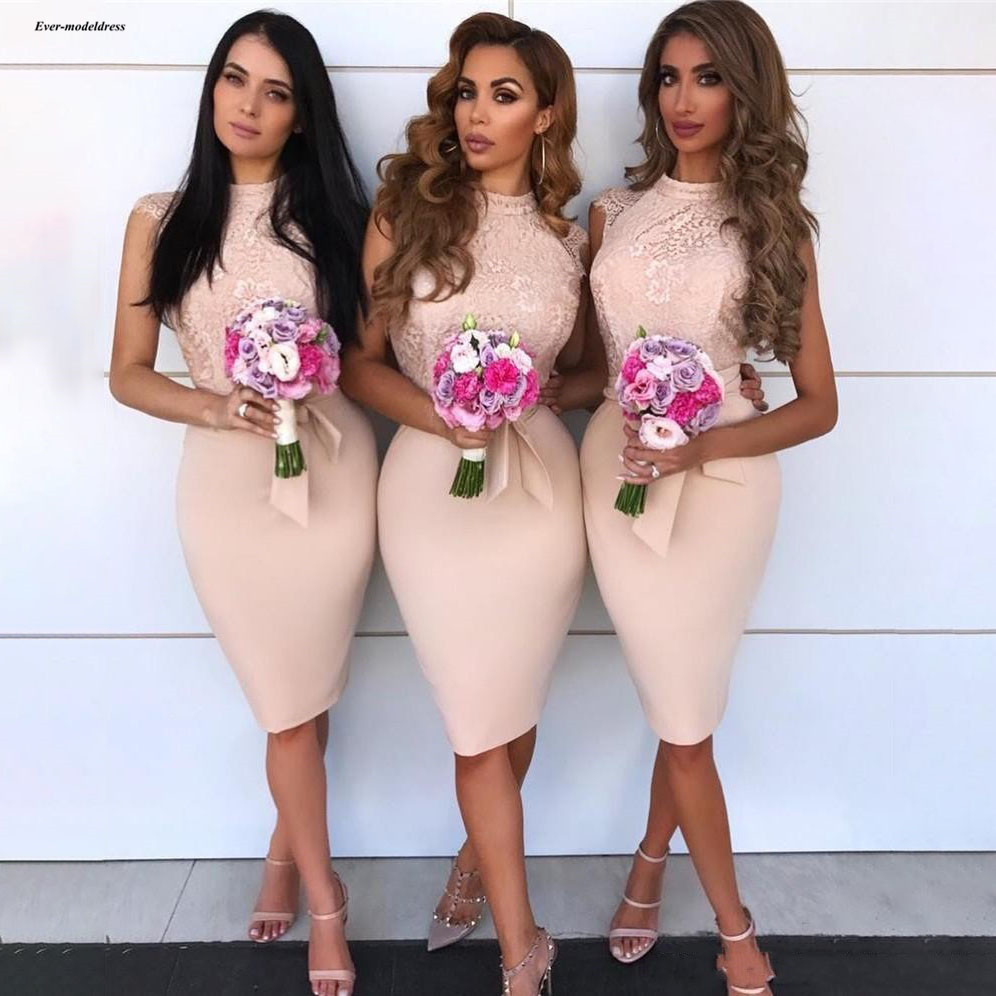 Pink Short Sheath Bridesmaid Dresses Lace Top 2019 High Neck Sleeveless Knee Length Simple Wedding Guest Party Gowns Customized