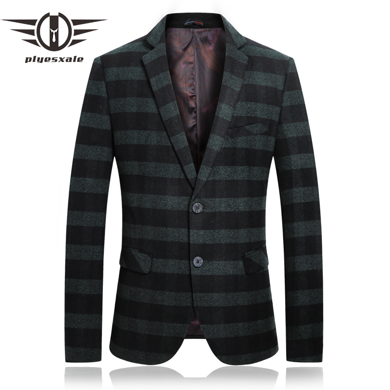 Plyesxale Red Green Striped Blazer Mens Casual Blazers Jacket Latest Fashion Blazer Masculino Slim Fit Formal Wear 2018 Q96
