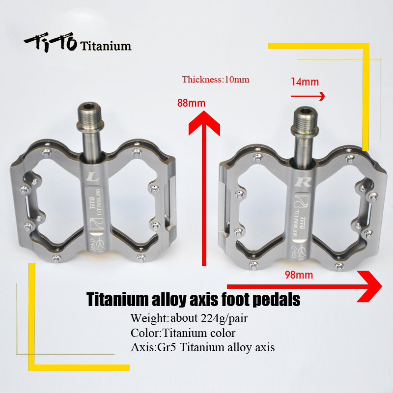 TiTo Ultralight Pedal Titanium Bicycle Pedal Titanium Alloy Axis Bike Pedals  MTB Cycling Titanium Bike 1 Pair Titanium Pedal