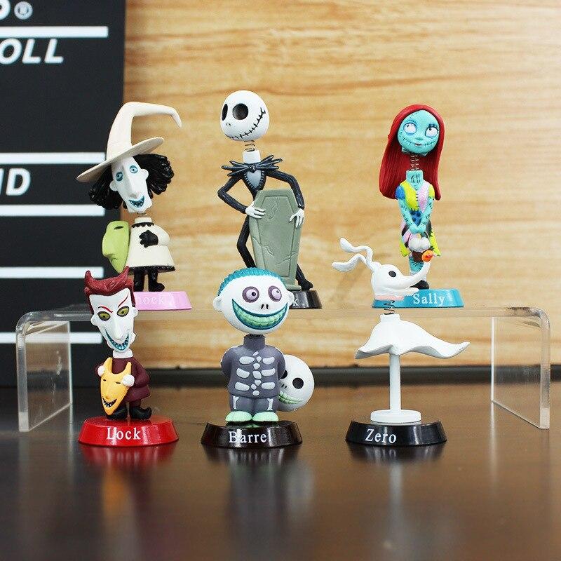 6 pçs/set action figure toys 5 Pesadelo Antes Do Natal-7 centímetros Jack Skellington Sally Coleção Toy Dolls PVC