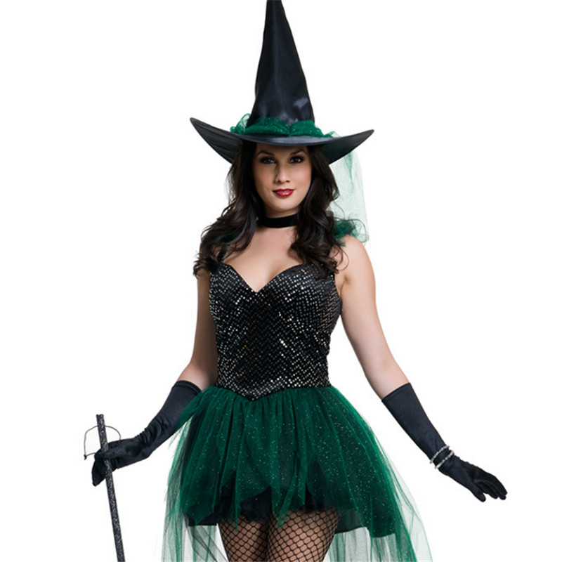 2018new high quality sexy green dress halloween witch cute princess costumes bar theme party costume women cosplay adult costume
