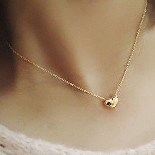 Corrente Gargantilha Feminina Pingente Coração Heart Love Dourado 6ec119c5dc