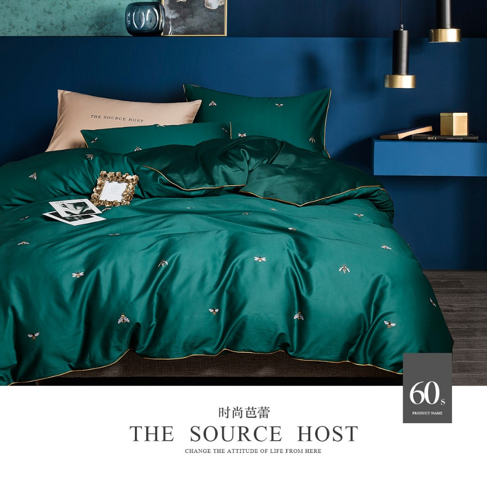No 56 60 luxury emerald green duvet cover set cotton with bees bedding queen size 4pcs