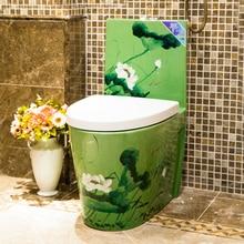 Арт-туалетный сифон Mute Water-saving арт-Туалет интегрированный с туалетом бассейн зеленый Лотос Фарфор керамический туалет