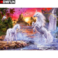 HOMFUN Full Square/Round Drill 5D DIY Diamond Painting Animal horse Embroidery Cross Stitch 3D Home Decor Gift A11958