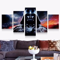 Bırak Alışveriş TBONTB HD Baskılı 5 Parça Star Wars Tuval duvar Sanat Darth Vader Boyama Tuval Film Afiş Duvar Sanatı özelleştirilmiş