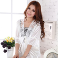 2016 New White Women Nightgown Sexy Short Nightgowns Twinset Plus Size Nightgowns Women Lace Nightwear Silk Sleepwear Dress 48