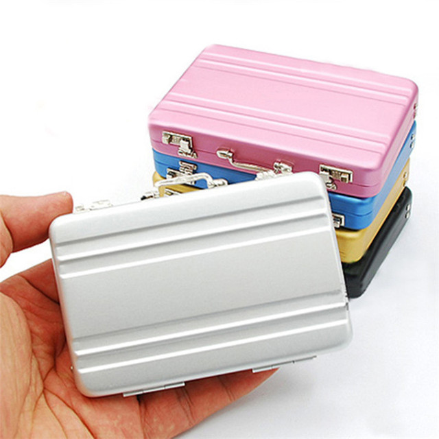Portable mini suitcase design business cards storage box id name portable mini suitcase design business cards storage box id name card holder case desktop mini plastic reheart Gallery