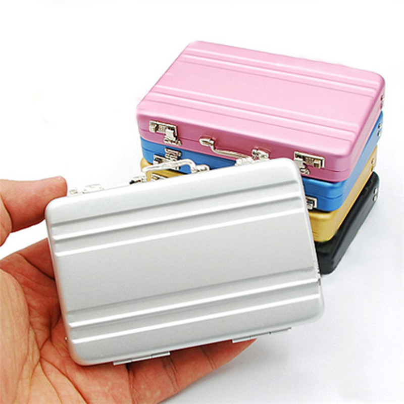 Portable Mini Suitcase Design Business Cards Storage Box ID Name Card Holder Case Desktop Mini Plastic Storage Box Organizer