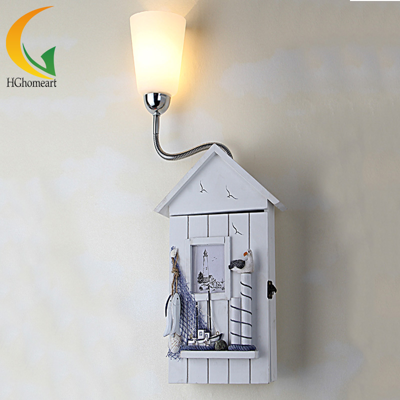 цена на Mediterranean house idyllic cartoon children wall lamp children's bedroom wall bedside lighting Creative