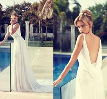 New Arrival Romantic Dress V Neck Court Train Wedding Dresses Vestido De Noiva Chiffon Custom Made