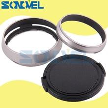 Серебро 49 мм объектива переходное кольцо + Металл бленда + крышка объектива для Fujifilm Fuji X100 X100s X100T X100F Заменить бленда LH-X100 X70