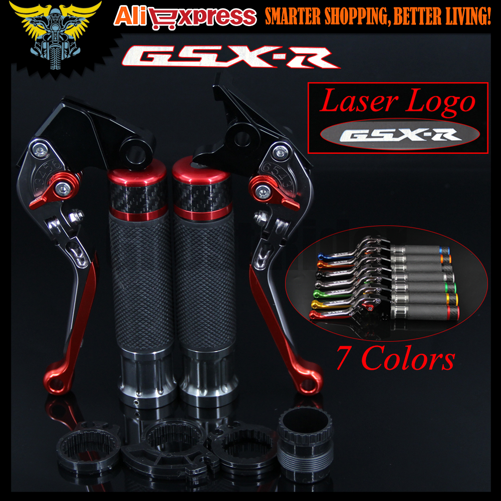 Laser Logo(GSX-R) New CNC Motorcycle Brake Clutch Levers and Handlebar Hand Grips For Suzuki GSXR750 2006 2007 2008 2009 2010
