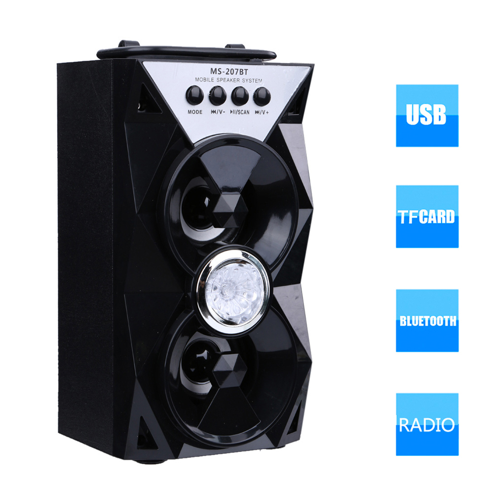 MS-207BT Bluetooth Dual Speaker LED Portable Indoor Outdoor Wireless Speakers with USB/TF/AUX/FM Radio for Compute/Smartphone