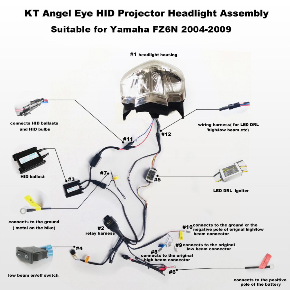 Fz6 Headlight Hid Wiring Diagram Search For Diagrams Angel Kt Yamaha Fz6n 2004 2009 Led Eye Red Demon Rh Aliexpress Com Auto Basic