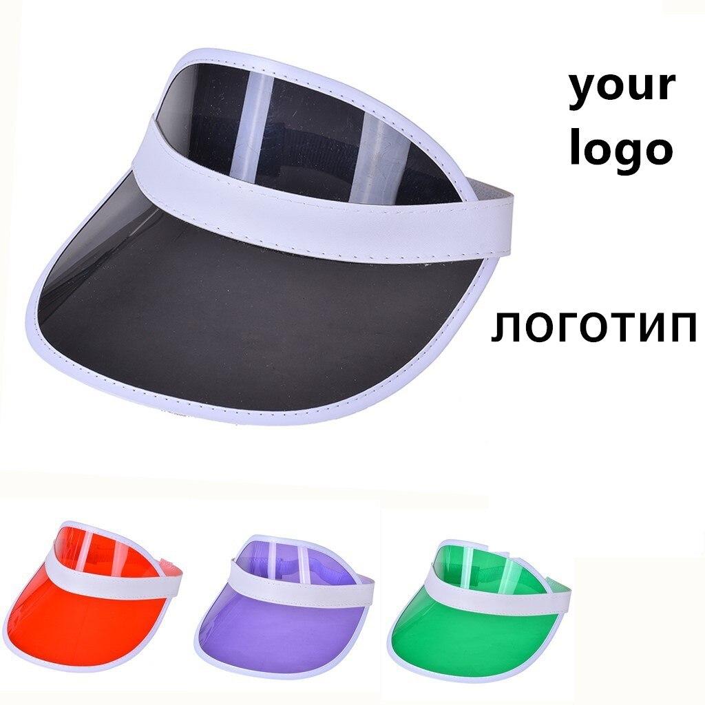 Personnaliser logo été femmes hommes chapeau de soleil couleur bonbon Transparent vide haut en plastique PVC crème solaire chapeau visière vélo parasol chapeau