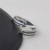 JINSE 925 Sterling Silver Braided Hollow Open Rings For Women Do The Old Fashion Lady Sterling