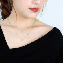 LUKENI New Design Personality Fashion S925 Sterling Silver Inlay Zircon Geometric Necklaces For Women Jewelry Accessories