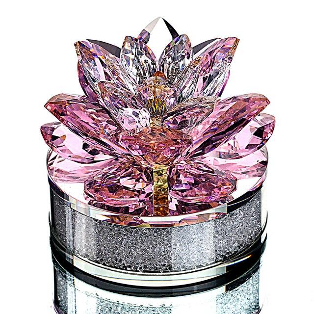 H & D En Kalite Noel Hediyeler K9 kristal lotus çiçeği Paperweight Için Ev Dekorasyon, Düğün Iyilik, Araba ofis masası Süsler