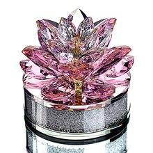 H & D Top qualité cadeaux de noël K9 cristal Lotus fleur presse papiers pour la décoration de la maison, faveurs de mariage, ornements de Table de bureau de voiture