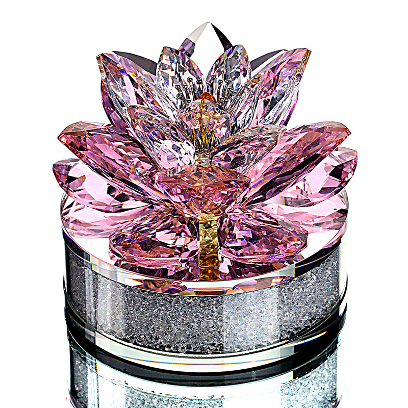 H&D Xmas Gift Crystal Sparkle Lotus Flower Ornament with Gift Box for Home Decoration,Wedding Favors,Car Office Table Decorative-in Figurines & Miniatures from Home & Garden    1