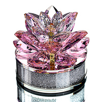 H&D Xmas Gift Crystal Sparkle Lotus Flower Ornament with Gift Box for Home Decoration,Wedding Favors,Car Office Table Decorative