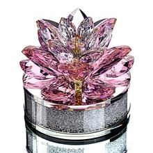 H & D de calidad superior regalos de navidad K9 Loto de cristal de pisapapeles de flor para la decoración de la casa de boda adornos de mesa de oficina para coche