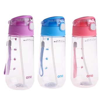 1 Pc 500ML Children With Straw Cups Baby Kids Children Portable Feeding Drinking Water Bottle Cup With Straw baby feeding water bottle portable no spill cup my plastic bottle children s small kettle with straw food grade slide cover copo