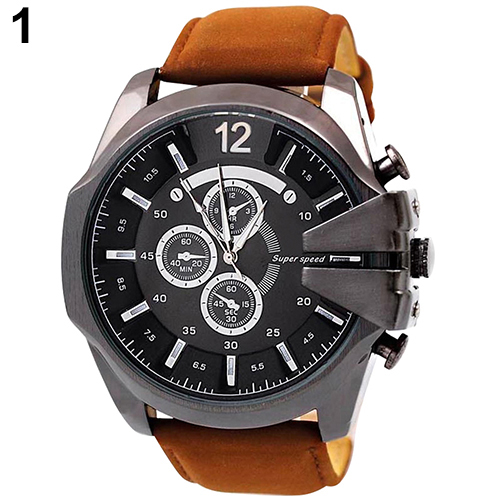 Hot Sales Retro Stainless Steel Faux Leather Band Analog Big Dial Quartz Watches for Men Wholesale