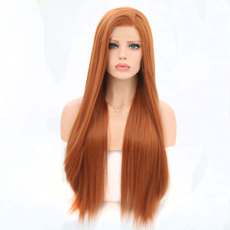 Bombshell Orange Lace Front Wig Synthetic Hair Long Straight Wigs For White Women Natural Hairline Hairstyles