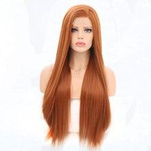 Bombshell Oranje Haarkant Synthetisch Haar Lange Rechte Pruiken Voor Witte Vrouwen Natuurlijke Haarlijn Kapsels Zijscheiding Pruiken