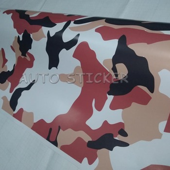 Hot Sale Red Black White Camouflage Vinyl PVC Camo Car Sticker Wrap Film Car Decal With Air Free Bubble For Auto Motorcycle