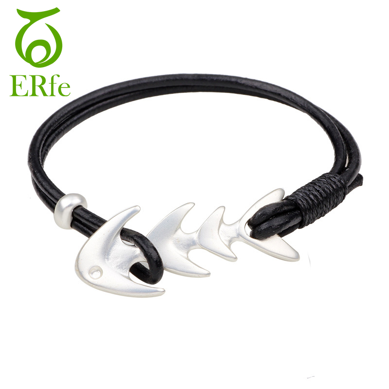 ER Female Lovely Silver Color Fish Bone Bracelet Femme Vintage Double Layer Leather Cuff Braslet Women Jewelry LB014
