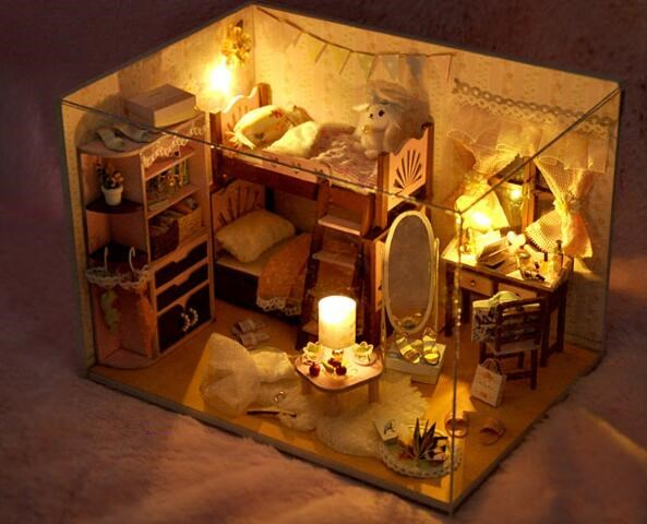 Handmade Doll House Toys Diy Assemble Doll House Toy Wooden Miniatura Doll Houses With Furniture Led Lights Kids Birthday Gifts