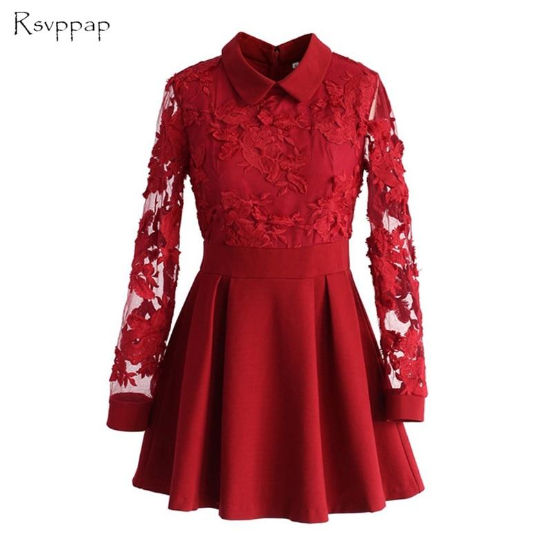 Real image a-ligne pure manches longues dentelle courte rouge Satin robe de bal 2019 robes de soirée