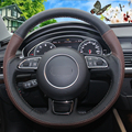 XuJi Black Palm Red Genuine Leather Hand-stitched Car Steering Wheel Cover for Audi A1 A3 A5 A7