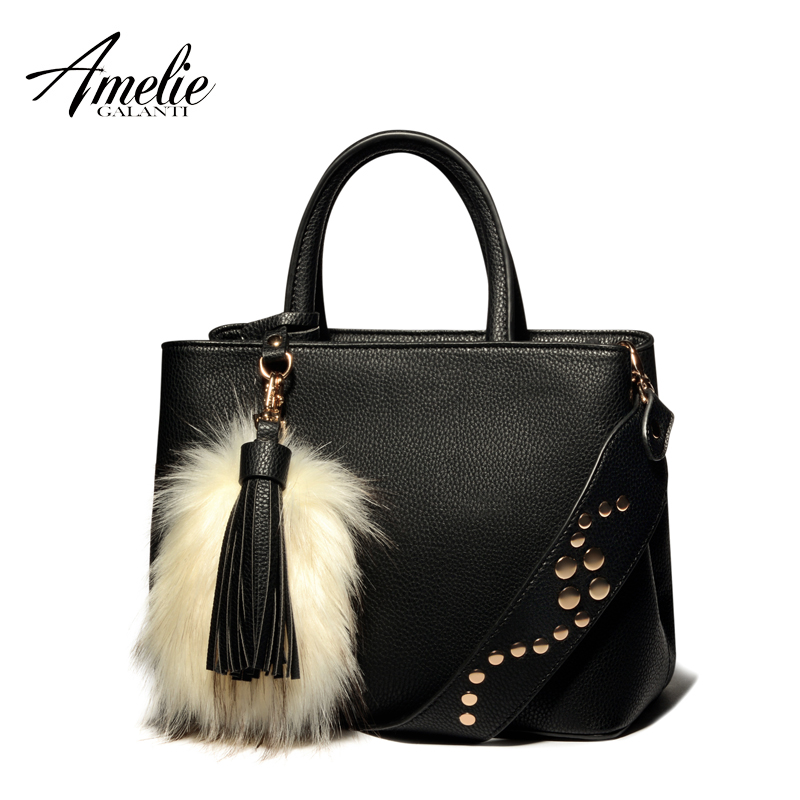 AMELIE GALANTI new fashion women messenger bags luxury totes high quality pu handbags tassel shoulder bag for women amelie galanti shoulder crossbody bags for women saddle purse embroidered bag with rivet long straps