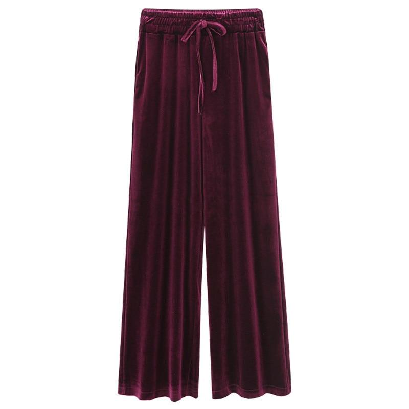2018 Fashion Velvet High Waist   Wide     Leg     Pants   Women Autumn Winter New Casual Trousers Clothing Female Plus Size Loose   Pants
